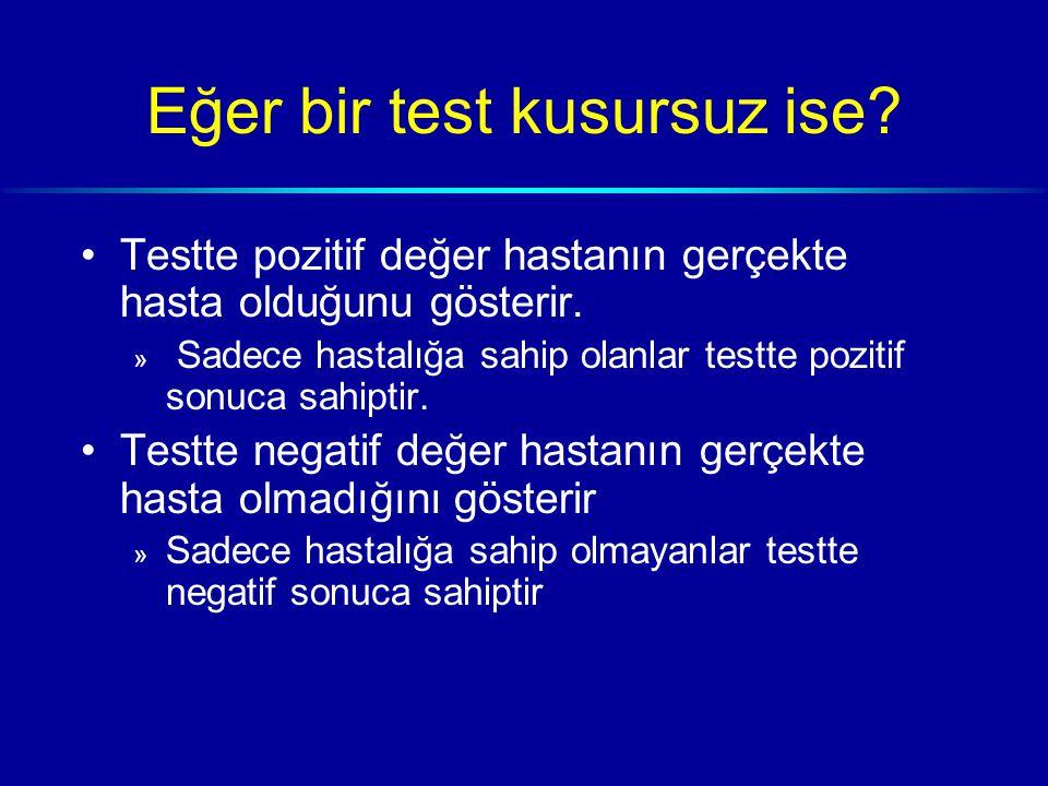 Eğer bir test kusursuz ise. Testte pozitif değer hastanın gerçekte hasta olduğunu gösterir.