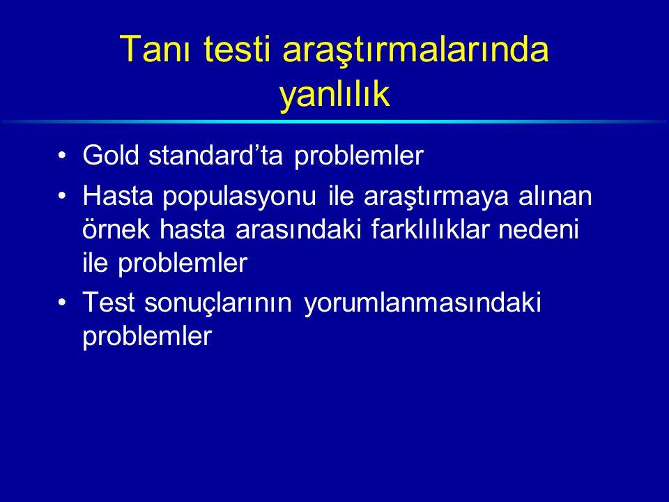 Tanı testi araştırmalarında yanlılık Gold standard'ta problemler Hasta populasyonu ile araştırmaya alınan örnek hasta arasındaki farklılıklar nedeni ile problemler Test sonuçlarının yorumlanmasındaki problemler
