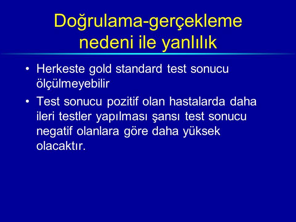 Doğrulama-gerçekleme nedeni ile yanlılık Herkeste gold standard test sonucu ölçülmeyebilir Test sonucu pozitif olan hastalarda daha ileri testler yapılması şansı test sonucu negatif olanlara göre daha yüksek olacaktır.