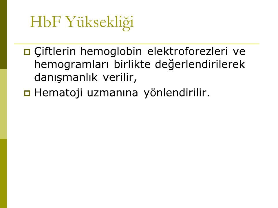 HbF Yüksekliği  Çiftlerin hemoglobin elektroforezleri ve hemogramları birlikte değerlendirilerek danışmanlık verilir,  Hematoji uzmanına yönlendiril