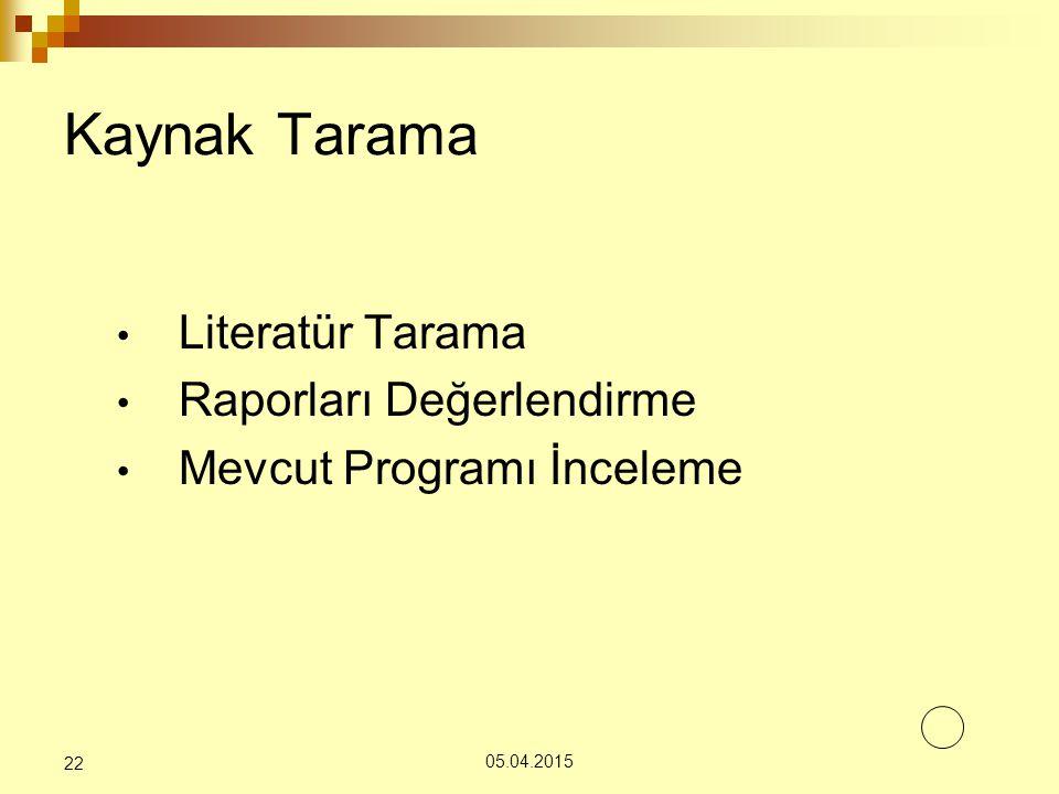 Literatür Tarama Raporları Değerlendirme Mevcut Programı İnceleme 05.04.2015 22 Kaynak Tarama