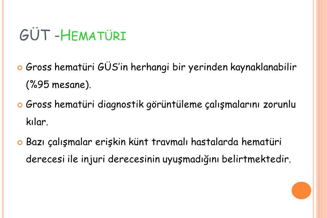 GÜT -H EMATÜRI Gross hematüri GÜS'in herhangi bir yerinden kaynaklanabilir (%95 mesane). Gross hematüri diagnostik görüntüleme çalışmalarını zorunlu k