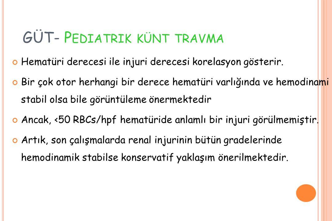GÜT- P EDIATRIK KÜNT TRAVMA Hematüri derecesi ile injuri derecesi korelasyon gösterir.