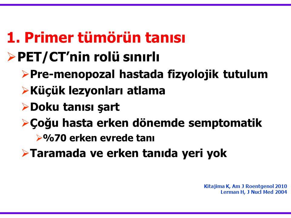 1. Primer tümörün tanısı  PET/CT'nin rolü sınırlı  Pre-menopozal hastada fizyolojik tutulum  Küçük lezyonları atlama  Doku tanısı şart  Çoğu hast
