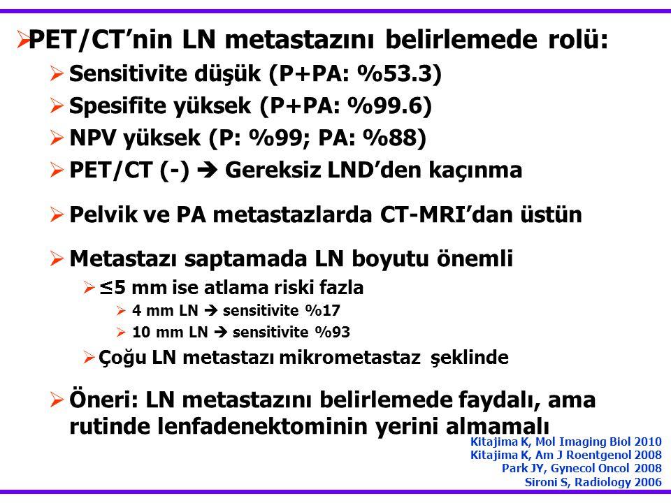  PET/CT'nin LN metastazını belirlemede rolü:  Sensitivite düşük (P+PA: %53.3)  Spesifite yüksek (P+PA: %99.6)  NPV yüksek (P: %99; PA: %88)  PET/