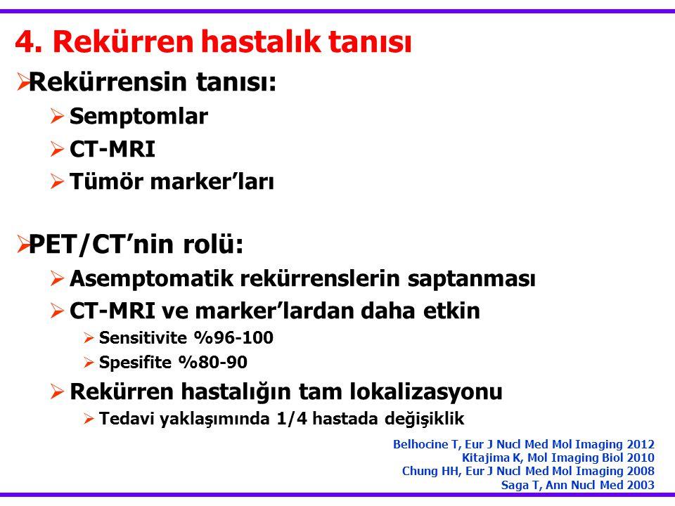 4. Rekürren hastalık tanısı  Rekürrensin tanısı:  Semptomlar  CT-MRI  Tümör marker'ları  PET/CT'nin rolü:  Asemptomatik rekürrenslerin saptanmas