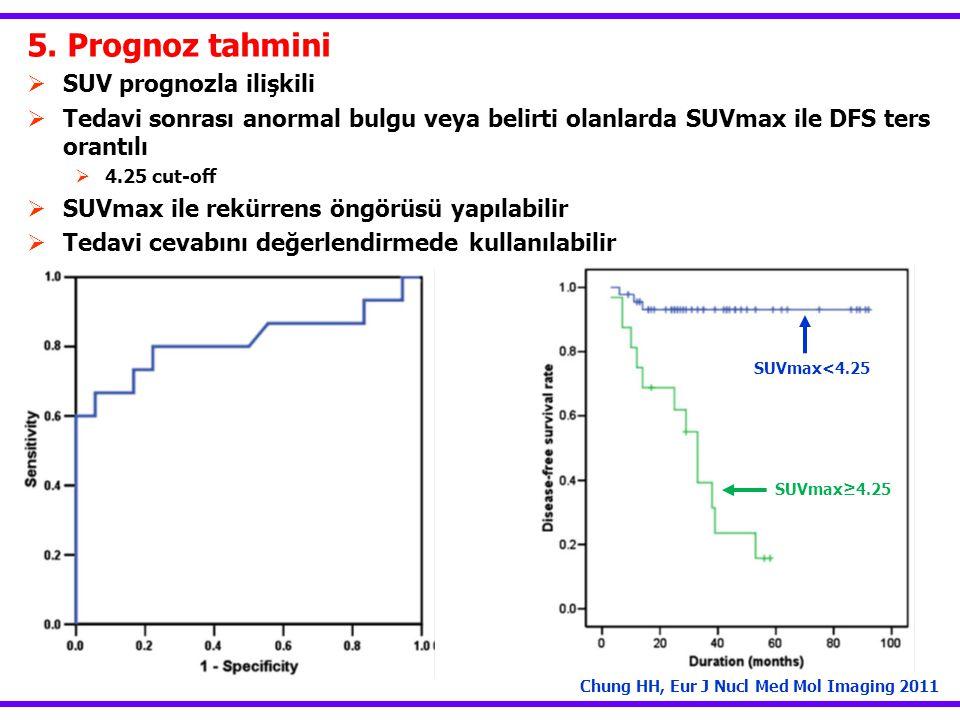 5. Prognoz tahmini  SUV prognozla ilişkili  Tedavi sonrası anormal bulgu veya belirti olanlarda SUVmax ile DFS ters orantılı  4.25 cut-off  SUVmax
