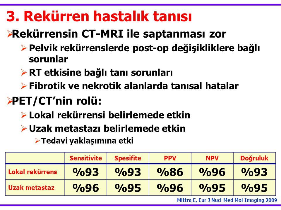 3. Rekürren hastalık tanısı  Rekürrensin CT-MRI ile saptanması zor  Pelvik rekürrenslerde post-op değişikliklere bağlı sorunlar  RT etkisine bağlı