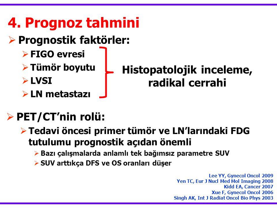 4. Prognoz tahmini  Prognostik faktörler:  FIGO evresi  Tümör boyutu  LVSI  LN metastazı Lee YY, Gynecol Oncol 2009 Yen TC, Eur J Nucl Med Mol Im