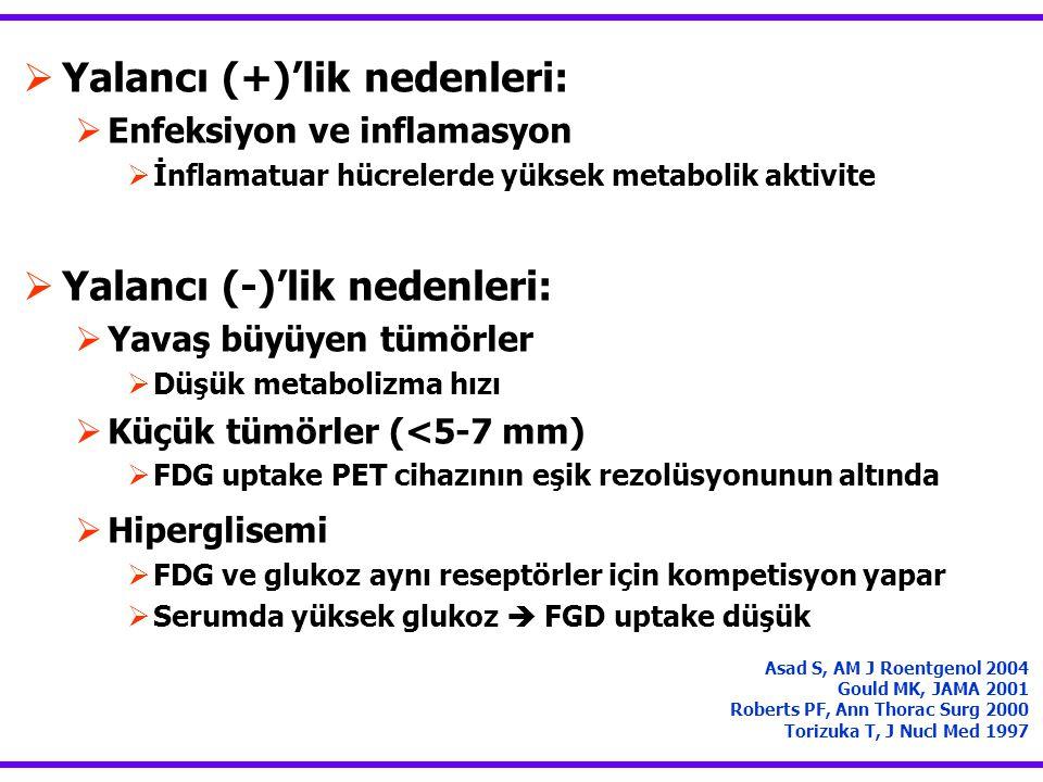  Yalancı (+)'lik nedenleri:  Enfeksiyon ve inflamasyon  İnflamatuar hücrelerde yüksek metabolik aktivite  Yalancı (-)'lik nedenleri:  Yavaş büyüy