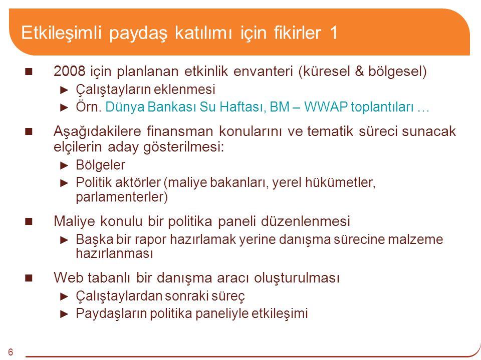 6 Etkileşimli paydaş katılımı için fikirler 1 2008 için planlanan etkinlik envanteri (küresel & bölgesel) ► Çalıştayların eklenmesi ► Örn.