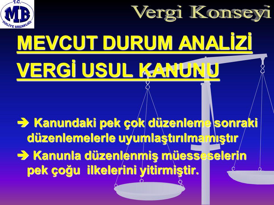 MEVCUT DURUM ANALİZİ VERGİ USUL (devam)  Kanun, anlamı ve hükmü kalmamış düzenlemeler ile doludur.