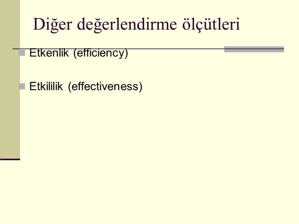 Diğer değerlendirme ölçütleri Etkenlik (efficiency) Etkililik (effectiveness)