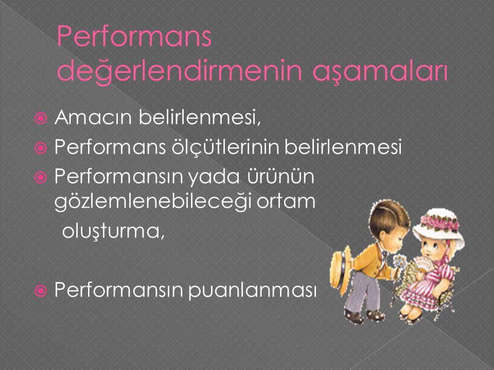  Amacın belirlenmesi,  Performans ölçütlerinin belirlenmesi  Performansın yada ürünün gözlemlenebileceği ortam oluşturma,  Performansın puanlanmas