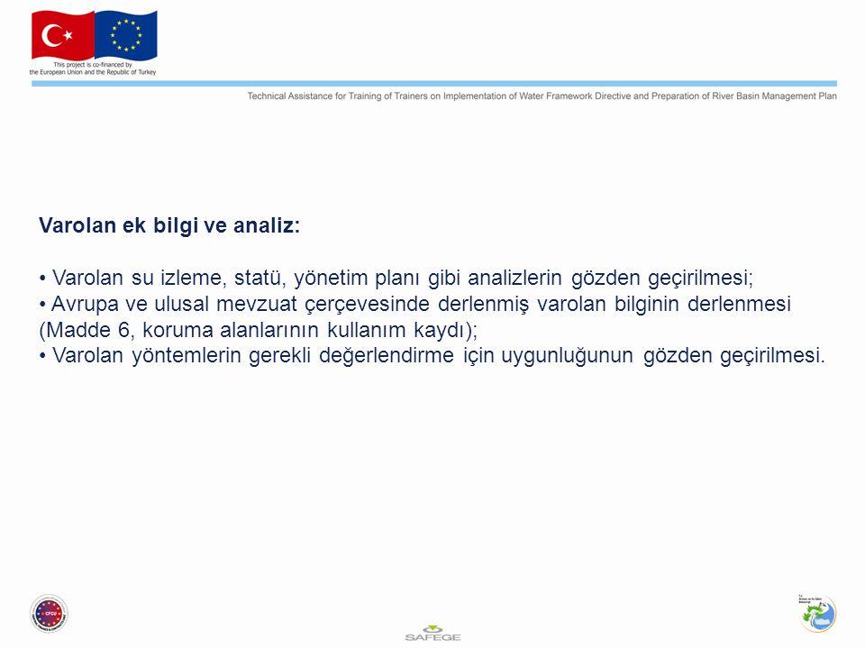 Varolan ek bilgi ve analiz: Varolan su izleme, statü, yönetim planı gibi analizlerin gözden geçirilmesi; Avrupa ve ulusal mevzuat çerçevesinde derlenmiş varolan bilginin derlenmesi (Madde 6, koruma alanlarının kullanım kaydı); Varolan yöntemlerin gerekli değerlendirme için uygunluğunun gözden geçirilmesi.