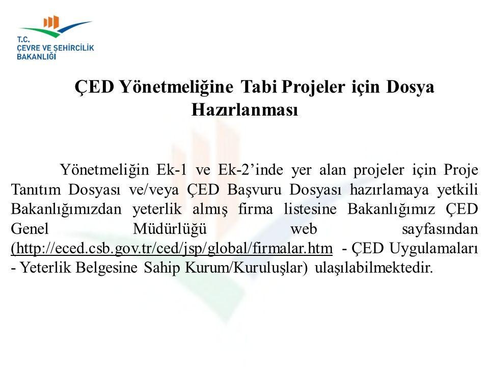 ÇED Yönetmeliğine Tabi Projeler için Dosya Hazırlanması Yönetmeliğin Ek-1 ve Ek-2'inde yer alan projeler için Proje Tanıtım Dosyası ve/veya ÇED Başvur