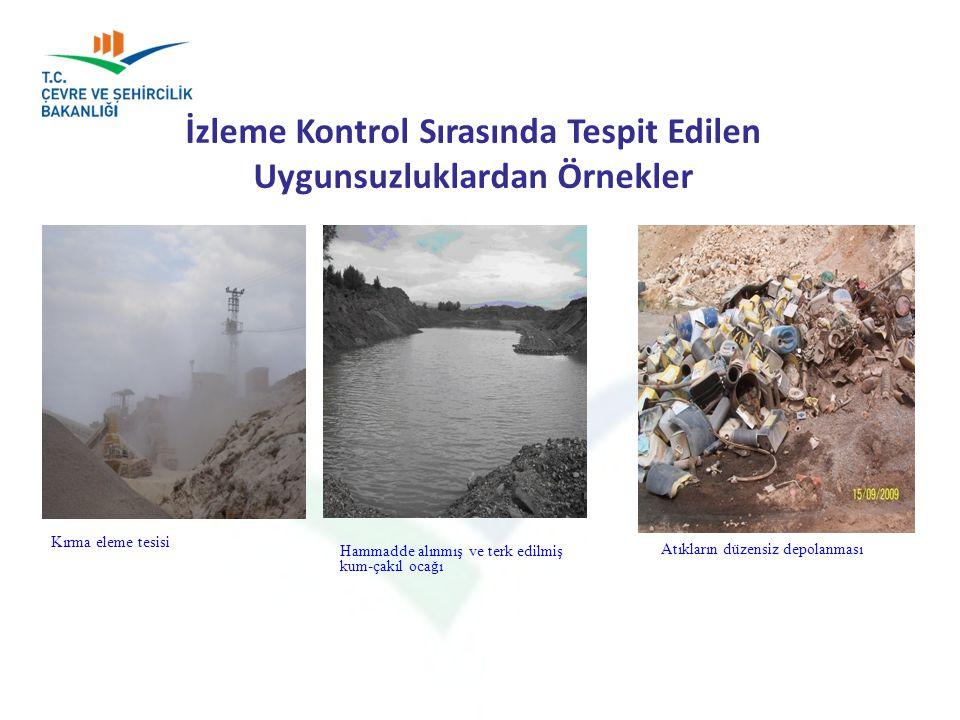 İzleme Kontrol Sırasında Tespit Edilen Uygunsuzluklardan Örnekler ÇED ve Çevre İzinleri Şube Müdürlüğü Kırma eleme tesisi Hammadde alınmış ve terk edi