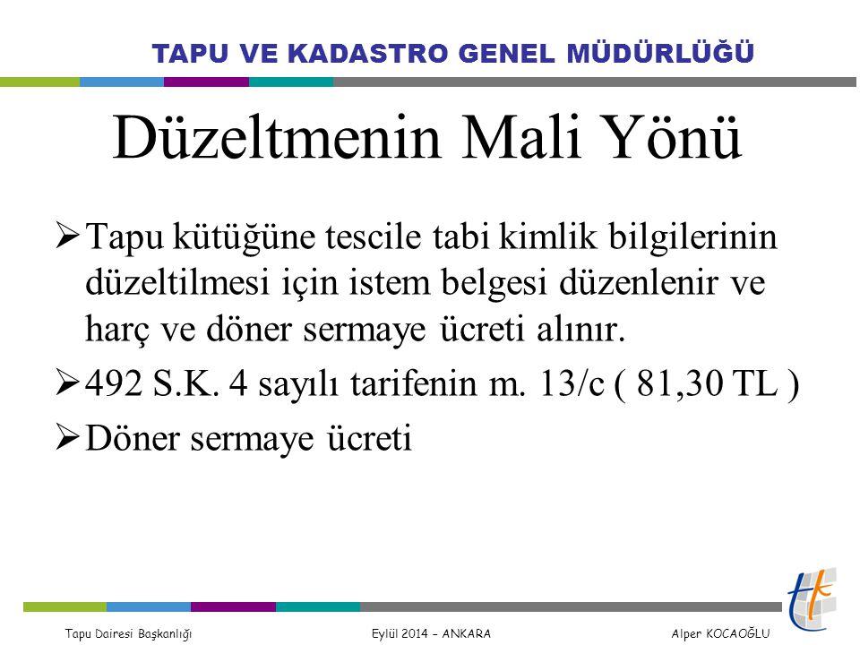 Tapu Dairesi Başkanlığı Eylül 2014 – ANKARA Alper KOCAOĞLU TAPU VE KADASTRO GENEL MÜDÜRLÜĞÜ Düzeltmenin Mali Yönü  Tapu kütüğüne tescile tabi kimlik
