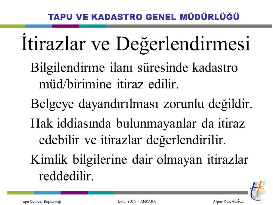 Tapu Dairesi Başkanlığı Eylül 2014 – ANKARA Alper KOCAOĞLU TAPU VE KADASTRO GENEL MÜDÜRLÜĞÜ İtirazlar ve Değerlendirmesi Bilgilendirme ilanı süresinde