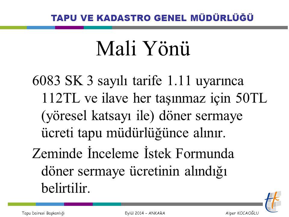 Tapu Dairesi Başkanlığı Eylül 2014 – ANKARA Alper KOCAOĞLU TAPU VE KADASTRO GENEL MÜDÜRLÜĞÜ Mali Yönü 6083 SK 3 sayılı tarife 1.11 uyarınca 112TL ve i