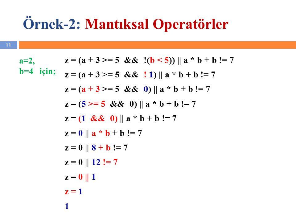 11 Örnek-2: Mantıksal Operatörler z = (a + 3 >= 5 && .