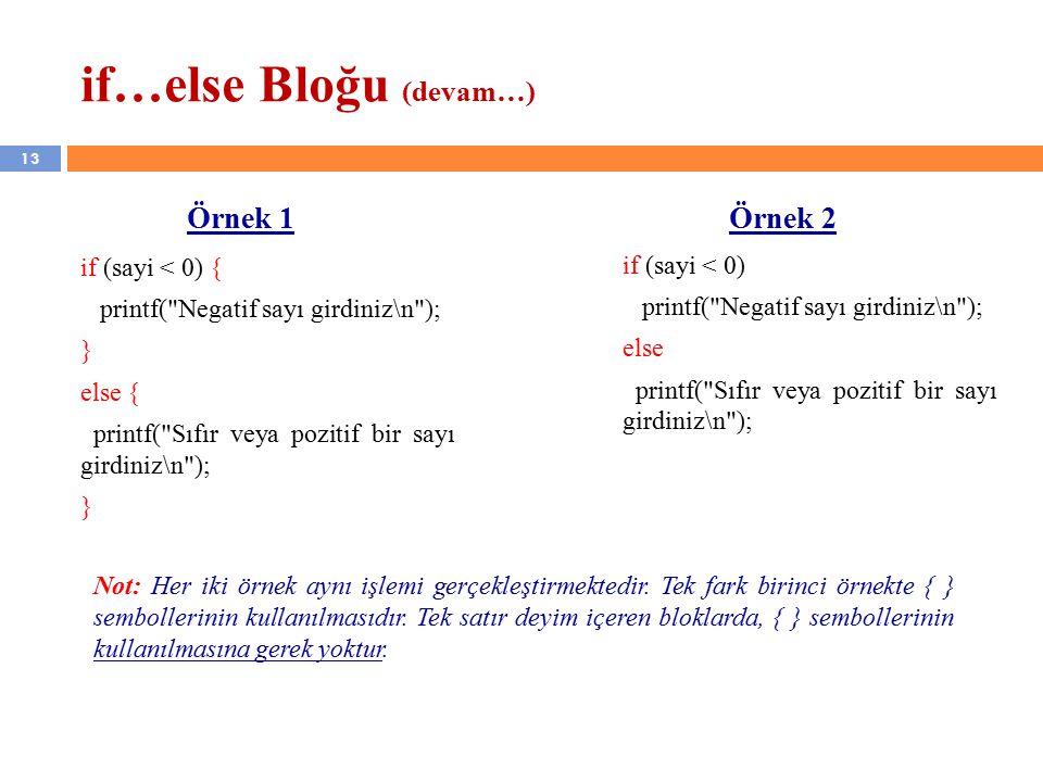 13 if…else Bloğu (devam…) if (sayi < 0) { printf( Negatif sayı girdiniz\n ); } else { printf( Sıfır veya pozitif bir sayı girdiniz\n ); } if (sayi < 0) printf( Negatif sayı girdiniz\n ); else printf( Sıfır veya pozitif bir sayı girdiniz\n ); Örnek 1 Örnek 2 Not: Her iki örnek aynı işlemi gerçekleştirmektedir.