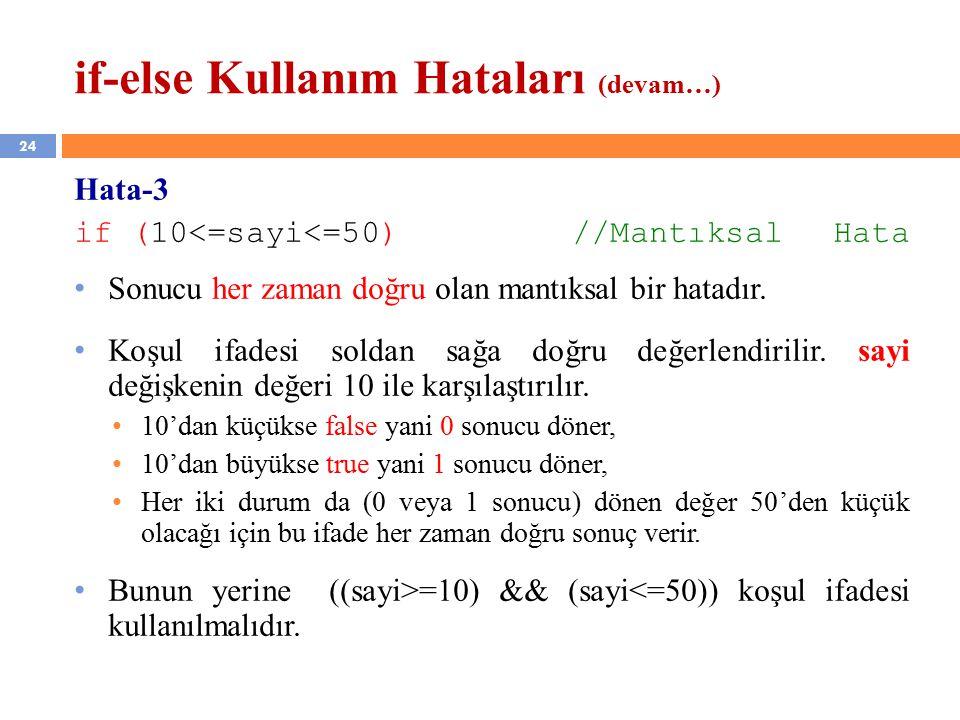 24 if-else Kullanım Hataları (devam…) Hata-3 if (10<=sayi<=50) //Mantıksal Hata Sonucu her zaman doğru olan mantıksal bir hatadır.