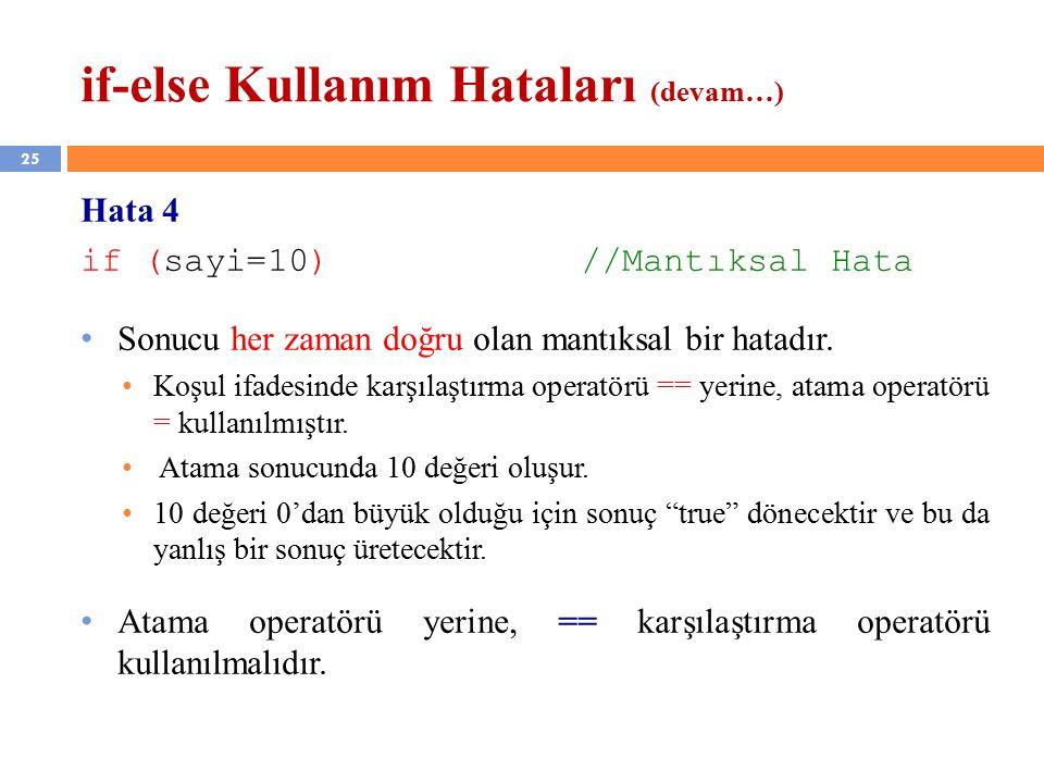 25 if-else Kullanım Hataları (devam…) Hata 4 if (sayi=10) //Mantıksal Hata Sonucu her zaman doğru olan mantıksal bir hatadır.