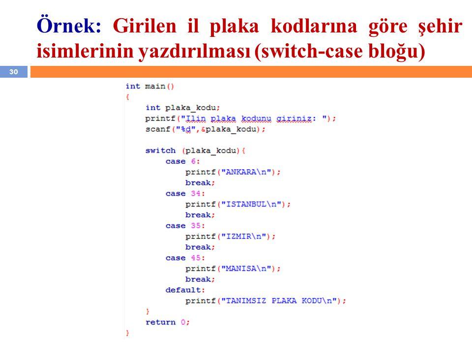 30 Örnek: Girilen il plaka kodlarına göre şehir isimlerinin yazdırılması (switch-case bloğu)