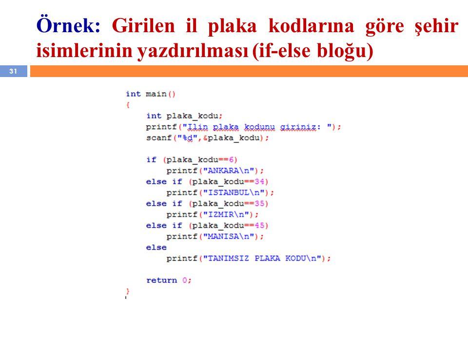 31 Örnek: Girilen il plaka kodlarına göre şehir isimlerinin yazdırılması (if-else bloğu)