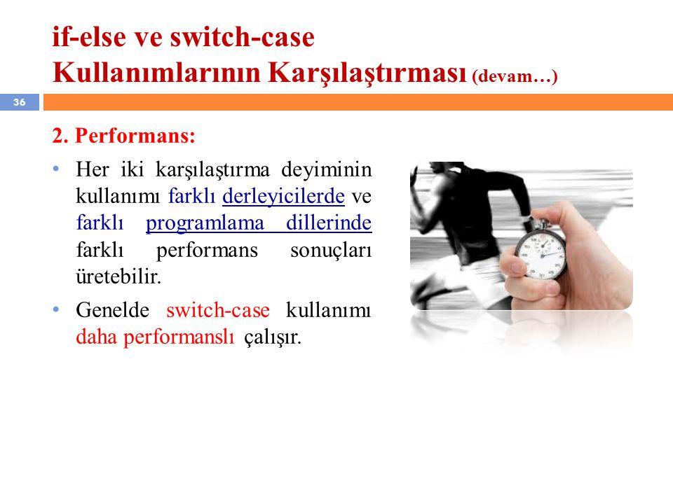 36 if-else ve switch-case Kullanımlarının Karşılaştırması (devam…) 2.