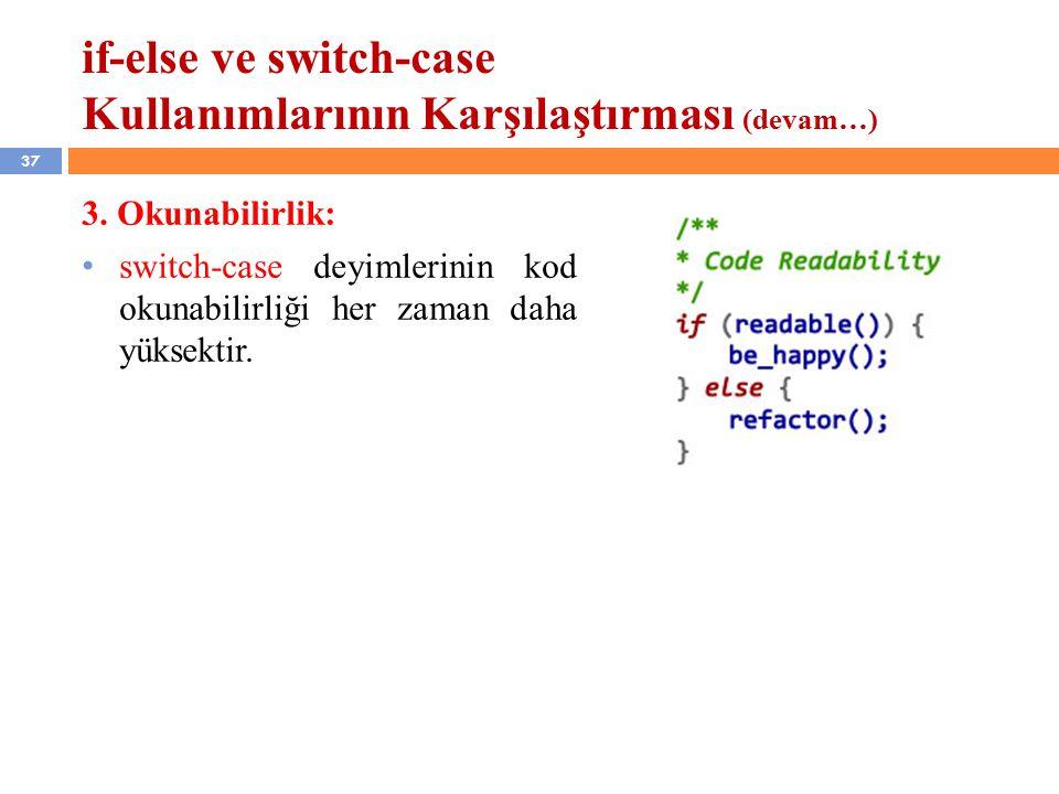 37 if-else ve switch-case Kullanımlarının Karşılaştırması (devam…) 3.