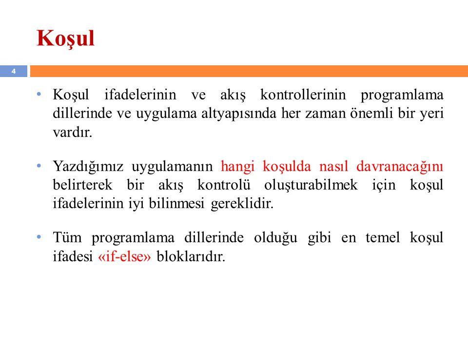15 İç içe if…else Blokları (devam…) Diğer bir kullanım şekli aşağıdaki gibidir: if(koşul_1) { deyimler; //(küme_1) } else if(koşul_2) { deyimler; //(küme_2) } ….