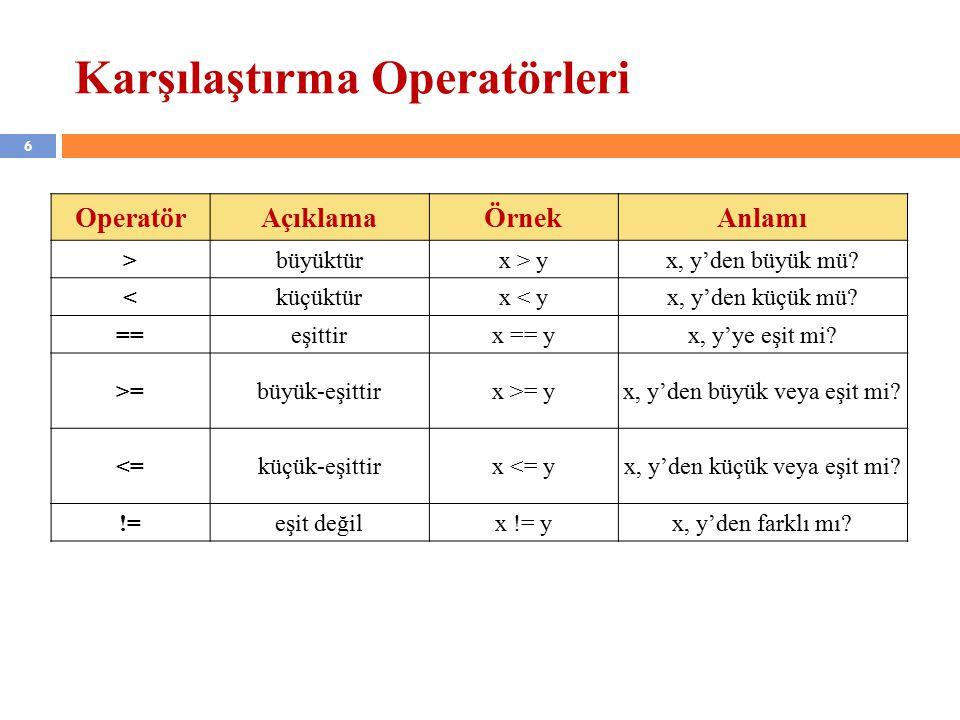 6 Karşılaştırma Operatörleri OperatörAçıklamaÖrnekAnlamı >büyüktürx > yx, y'den büyük mü.