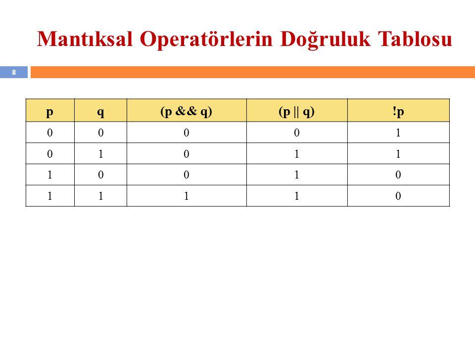 8 Mantıksal Operatörlerin Doğruluk Tablosu pq(p && q)(p || q)!p 00001 01011 10010 11110