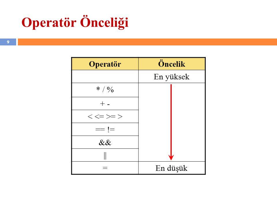 9 Operatör Önceliği OperatörÖncelik En yüksek * / % + - = > == != && || =En düşük