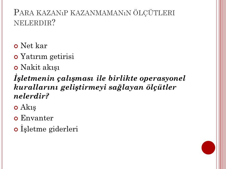 P ARA KAZANıP KAZANMAMANıN ÖLÇÜTLERI NELERDIR .