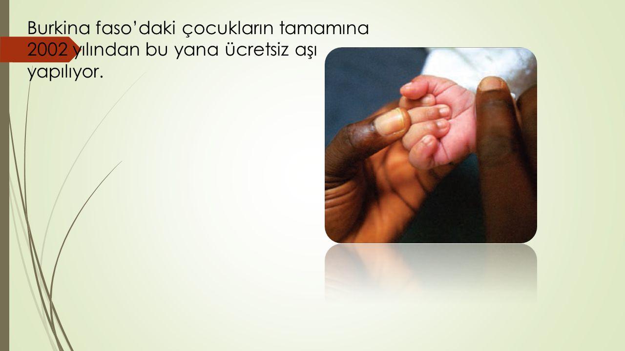 Burkina faso'daki çocukların tamamına 2002 yılından bu yana ücretsiz aşı yapılıyor.