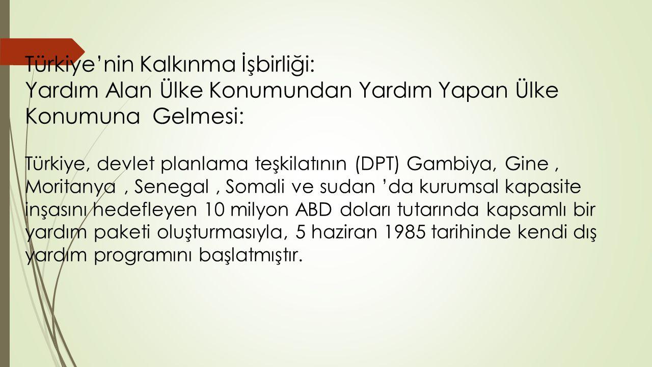 Türkiye'nin Kalkınma İşbirliği: Yardım Alan Ülke Konumundan Yardım Yapan Ülke Konumuna Gelmesi: Türkiye, devlet planlama teşkilatının (DPT) Gambiya, Gine, Moritanya, Senegal, Somali ve sudan 'da kurumsal kapasite inşasını hedefleyen 10 milyon ABD doları tutarında kapsamlı bir yardım paketi oluşturmasıyla, 5 haziran 1985 tarihinde kendi dış yardım programını başlatmıştır.
