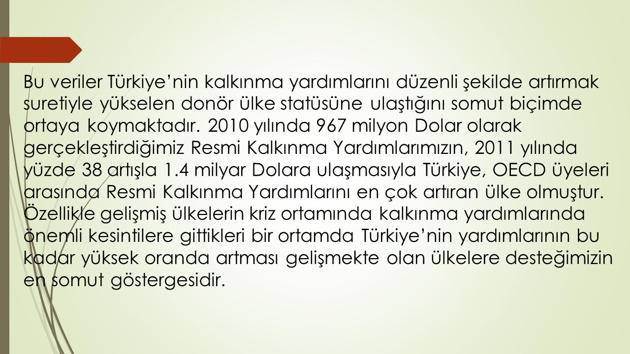 Bu veriler Türkiye'nin kalkınma yardımlarını düzenli şekilde artırmak suretiyle yükselen donör ülke statüsüne ulaştığını somut biçimde ortaya koymaktadır.