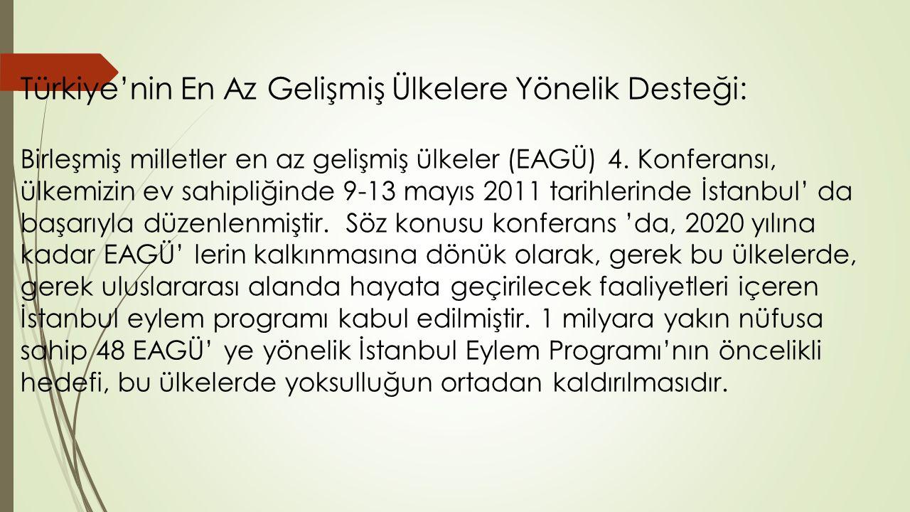Türkiye'nin En Az Gelişmiş Ülkelere Yönelik Desteği: Birleşmiş milletler en az gelişmiş ülkeler (EAGÜ) 4. Konferansı, ülkemizin ev sahipliğinde 9-13 m