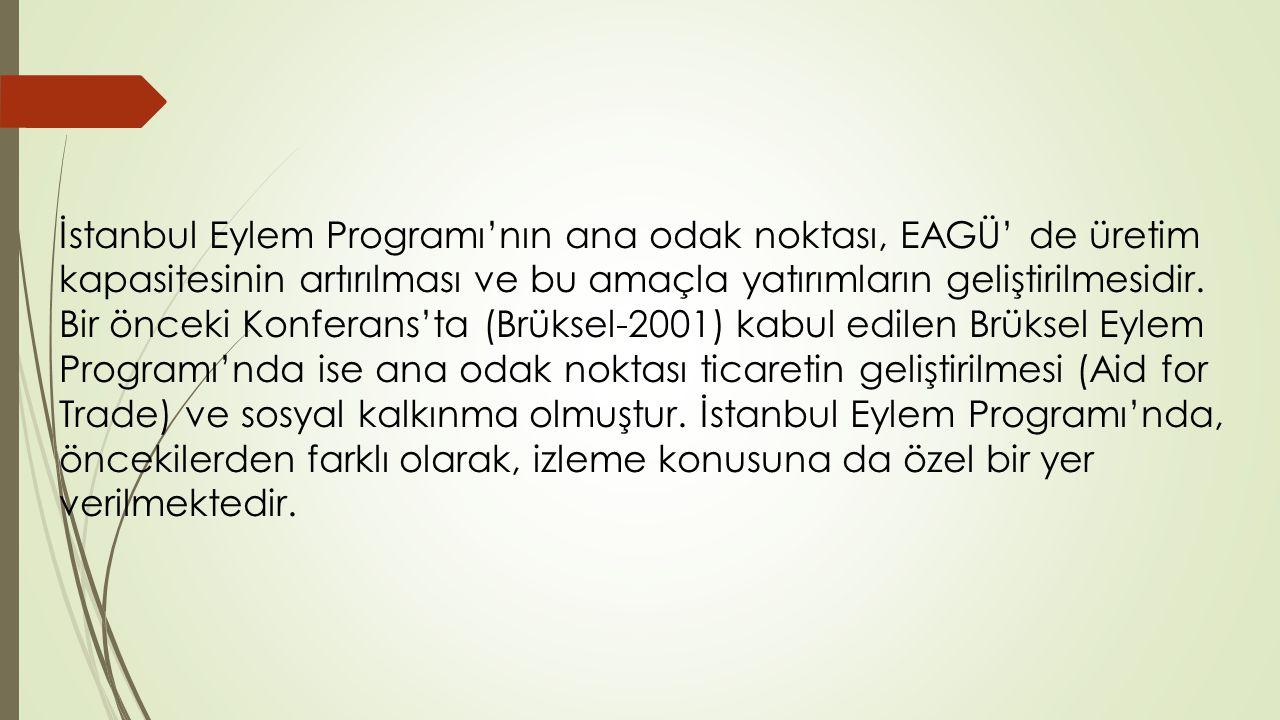 İstanbul Eylem Programı'nın ana odak noktası, EAGÜ' de üretim kapasitesinin artırılması ve bu amaçla yatırımların geliştirilmesidir.