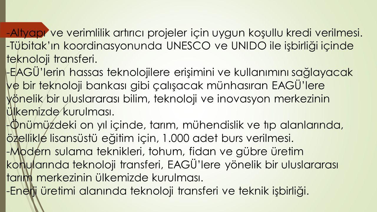 -Altyapı ve verimlilik artırıcı projeler için uygun koşullu kredi verilmesi. -Tübitak'ın koordinasyonunda UNESCO ve UNIDO ile işbirliği içinde teknolo