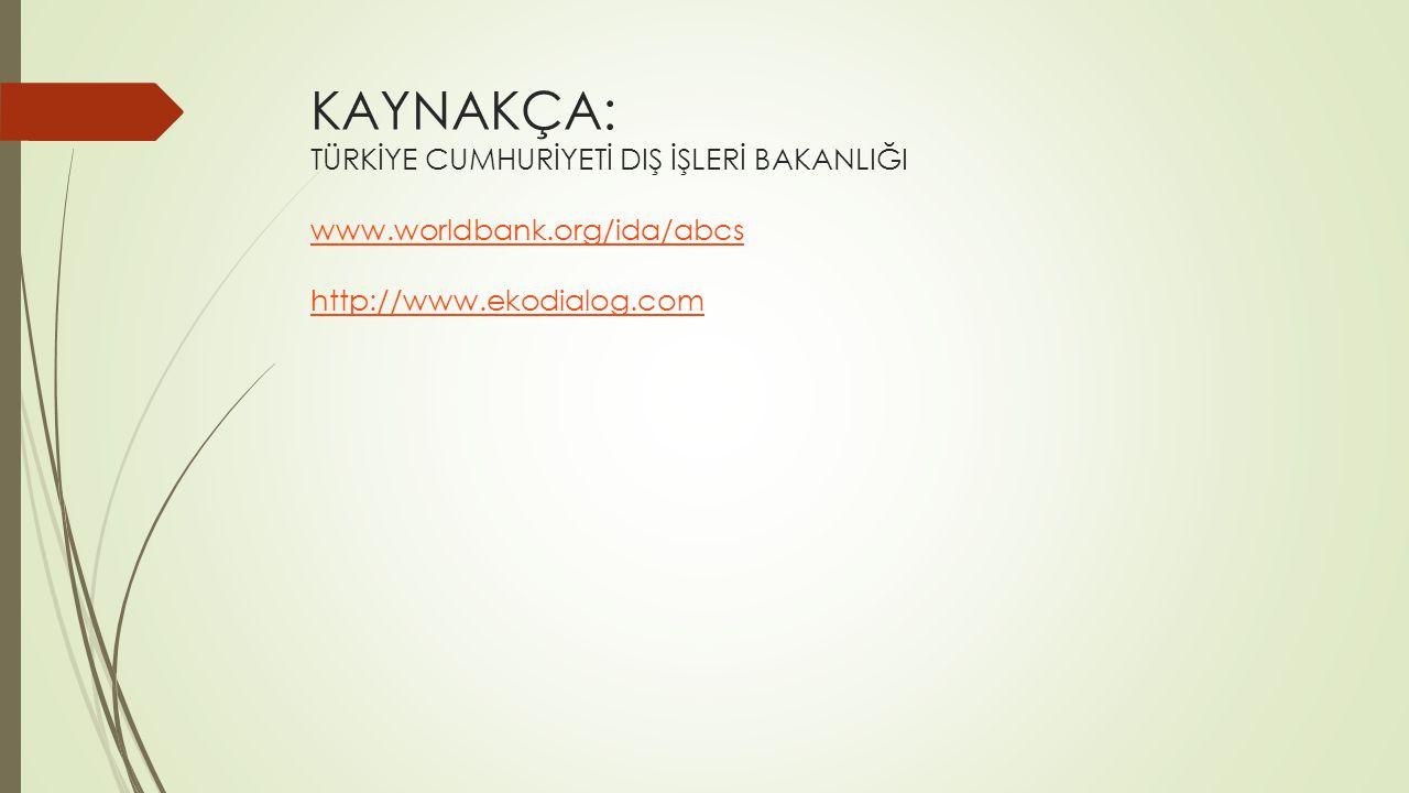 KAYNAKÇA: TÜRKİYE CUMHURİYETİ DIŞ İŞLERİ BAKANLIĞI www.worldbank.org/ida/abcs http://www.ekodialog.com www.worldbank.org/ida/abcs http://www.ekodialog.com