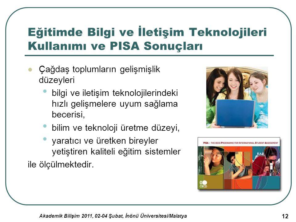 Akademik Bilişim 2011, 02-04 Şubat, İnönü Üniversitesi/Malatya 12 Eğitimde Bilgi ve İletişim Teknolojileri Kullanımı ve PISA Sonuçları Çağdaş toplumla