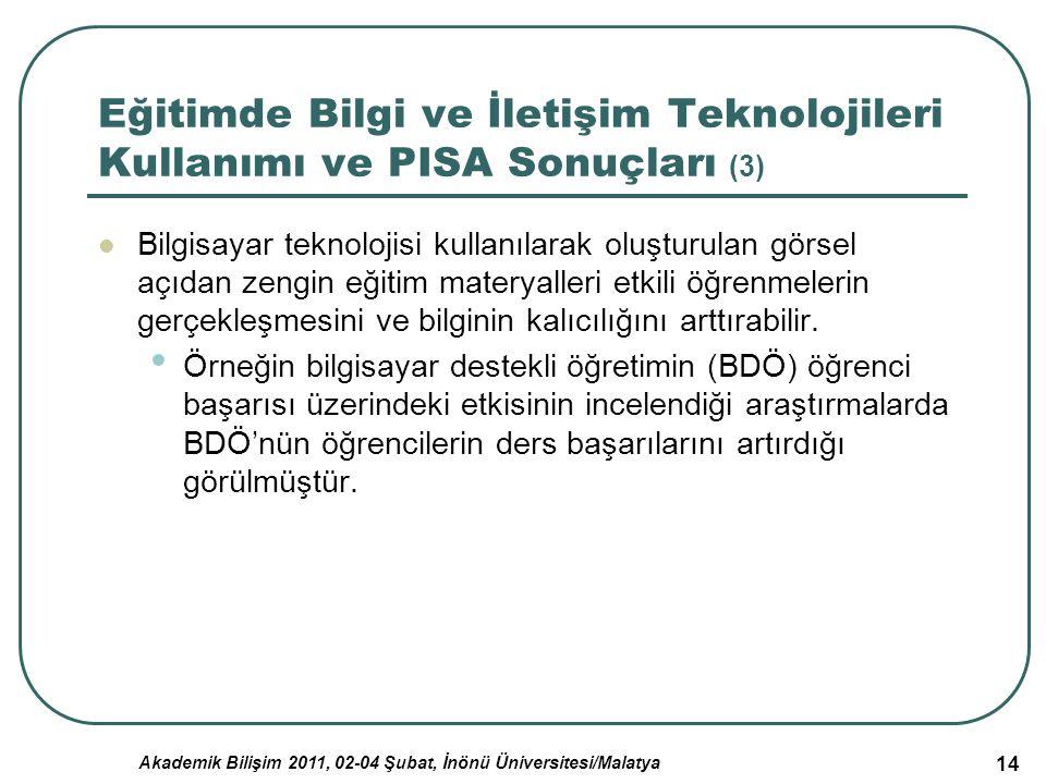 Akademik Bilişim 2011, 02-04 Şubat, İnönü Üniversitesi/Malatya 14 Eğitimde Bilgi ve İletişim Teknolojileri Kullanımı ve PISA Sonuçları (3) Bilgisayar