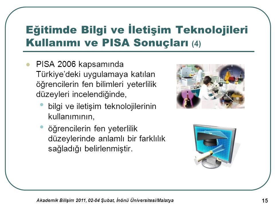Akademik Bilişim 2011, 02-04 Şubat, İnönü Üniversitesi/Malatya 15 Eğitimde Bilgi ve İletişim Teknolojileri Kullanımı ve PISA Sonuçları (4) PISA 2006 k