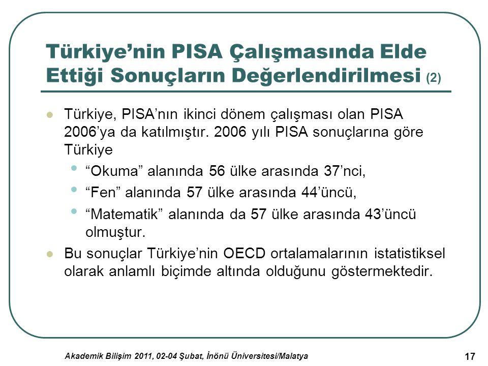 Akademik Bilişim 2011, 02-04 Şubat, İnönü Üniversitesi/Malatya 17 Türkiye'nin PISA Çalışmasında Elde Ettiği Sonuçların Değerlendirilmesi (2) Türkiye,