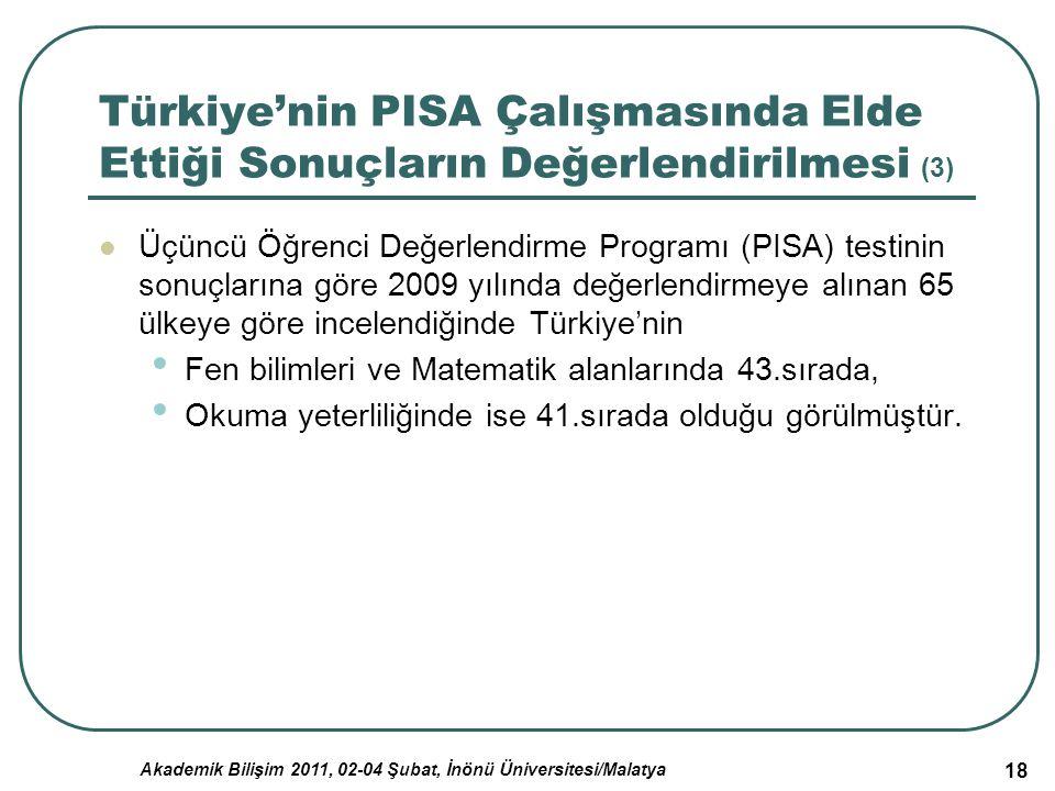 Akademik Bilişim 2011, 02-04 Şubat, İnönü Üniversitesi/Malatya 18 Türkiye'nin PISA Çalışmasında Elde Ettiği Sonuçların Değerlendirilmesi (3) Üçüncü Öğ