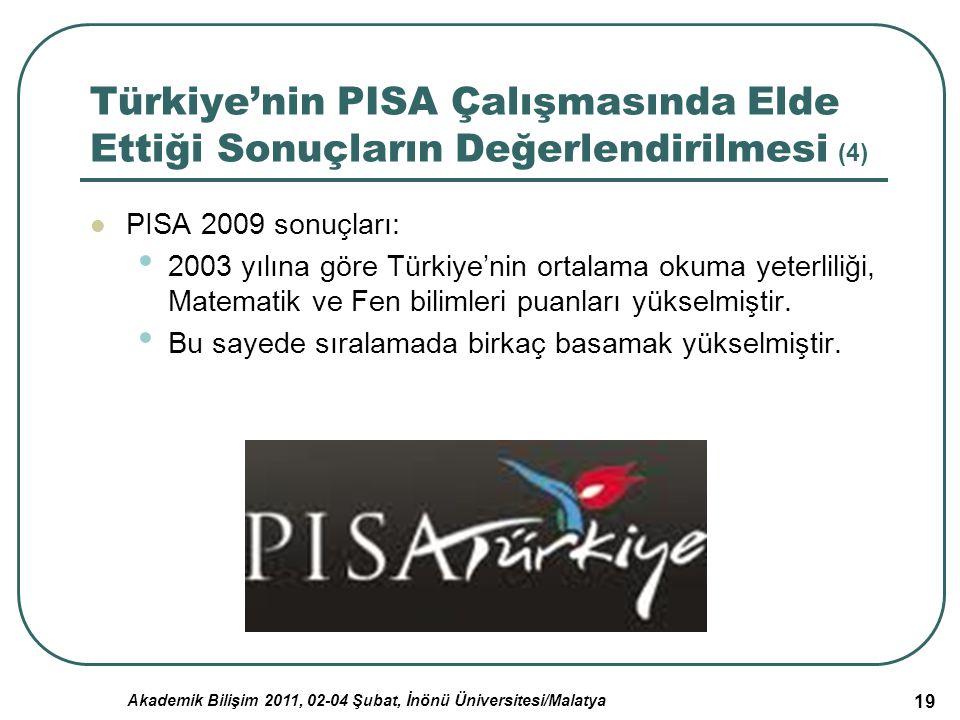 Akademik Bilişim 2011, 02-04 Şubat, İnönü Üniversitesi/Malatya 19 Türkiye'nin PISA Çalışmasında Elde Ettiği Sonuçların Değerlendirilmesi (4) PISA 2009